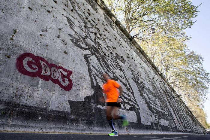 Imbrattato il murales di Kentridge sul Lungo Tevere