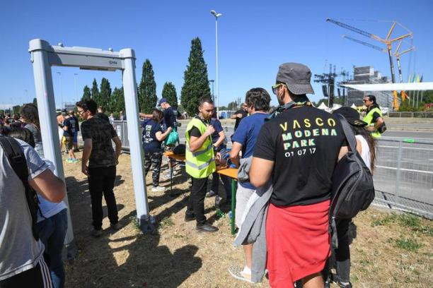 Security checks to attend the Vasco Rossi concert in the Ferrari Park in Modena, Italy on July 1, 2017. More than 200,000 people came to the concert. ANSA/ALESSANDRO DI MEO