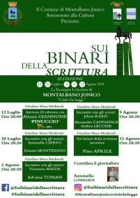 dal 12 luglio al 12 agosto III-Edizione Sui binari della scrittura Montalbano Jonico (MT)