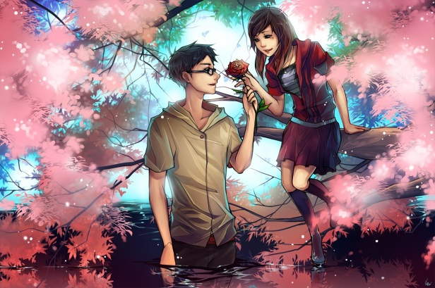 Konachan.com - 154583 black_eyes black_hair brown_hair flowers glasses jpeg_artifacts long_hair original unodu water.jpg