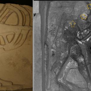 Metopa con Apollo e Artemide con indicazione delle tracce dei capelli