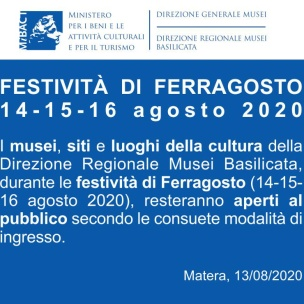 Dal 14 al 16 agosto MIBACT Musei Lucani Aperti